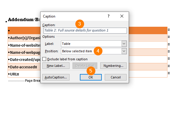 Options for inserting a table caption in Microsoft Word.