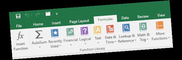 Microsoft Excel formulas menu