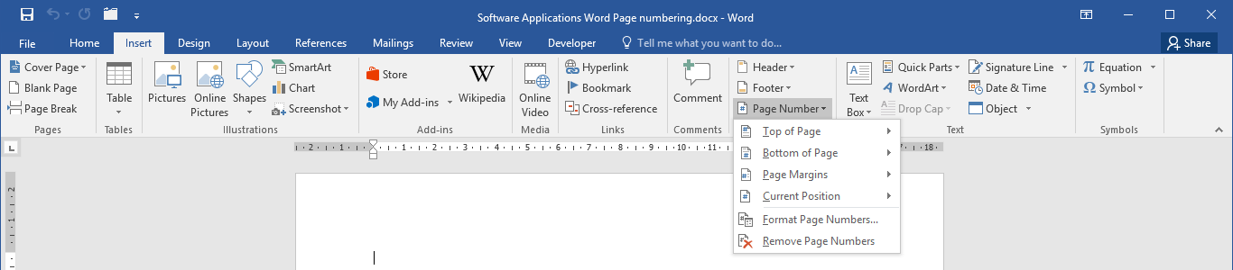 Insert page numbering in Microsoft Word 2016