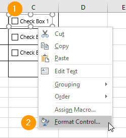 Formatting an Excel Check Box Control