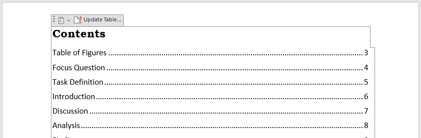 Viewing the field code for a Table of Contents in Word.
