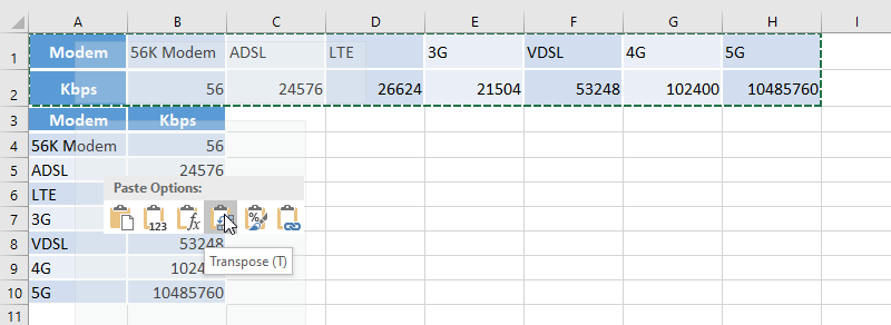 Excel paste transposed option
