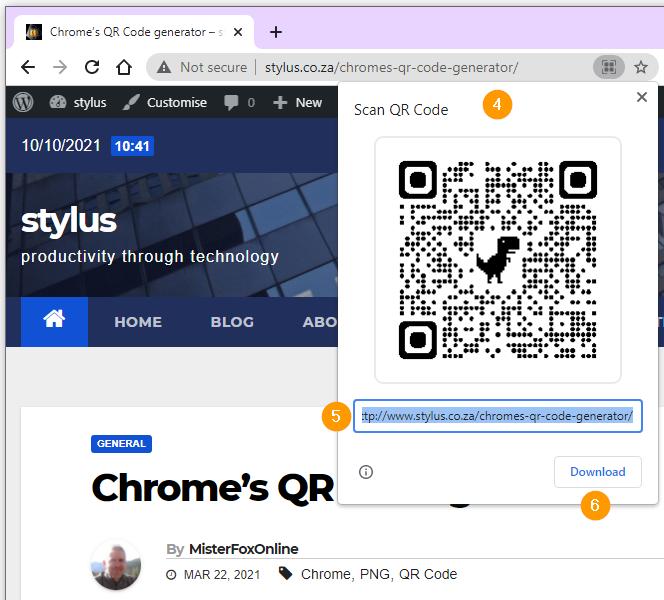 Chrome's QR Code generator.