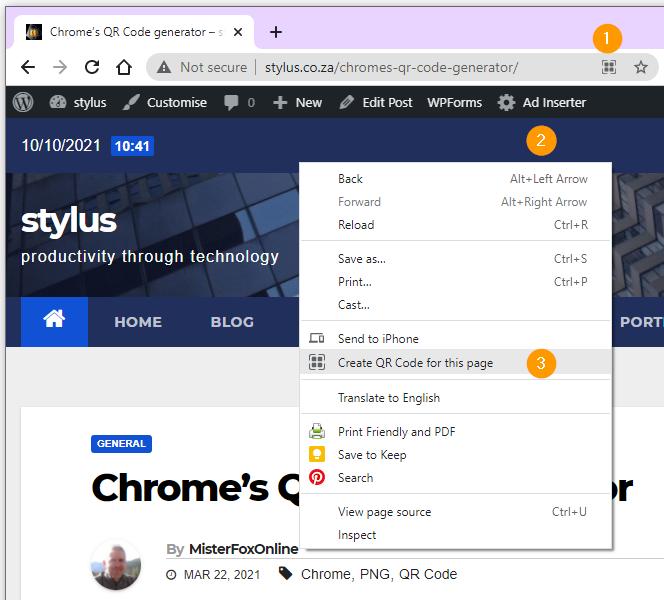Activating Chrome's QR Code generator.