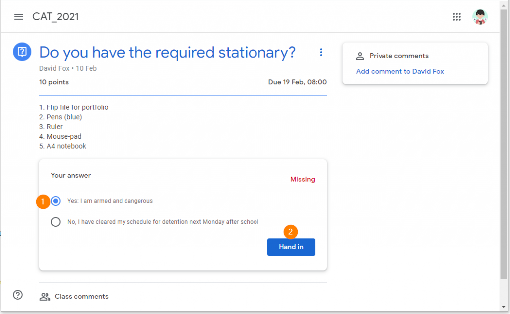 Completing a Google Classroom Question Assignment