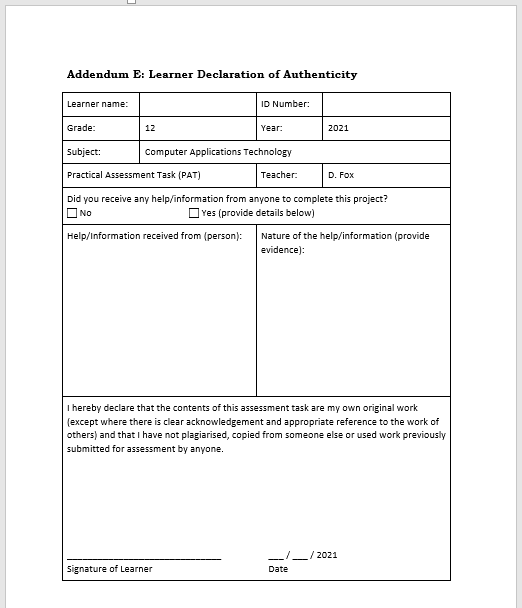 Learner declaration of authenticity