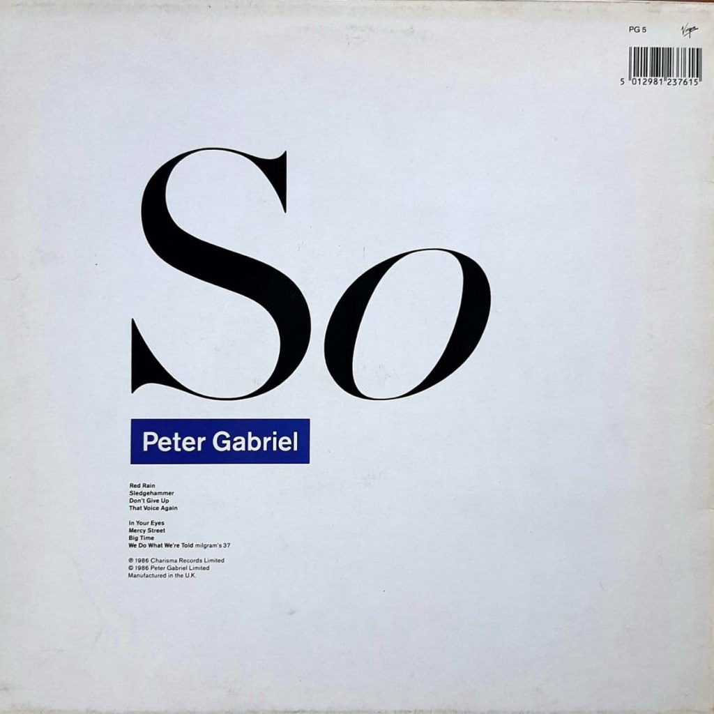 The back cover design of Peter Gabriel's album, So.