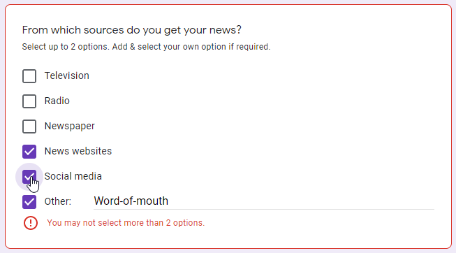 A Google Form Checkboxes question