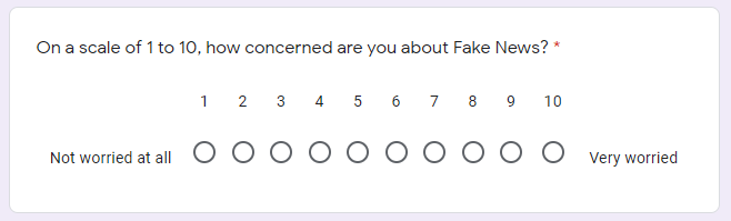 Google Form Linear question type