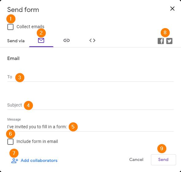 Send options for a Google Form