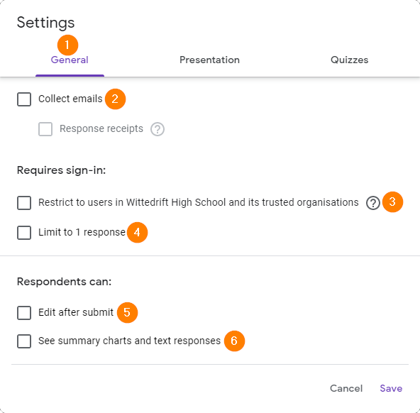 General settings tab for a Google Form