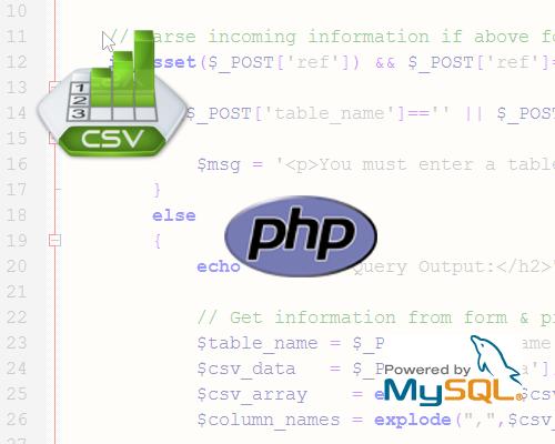 csv2mysql script