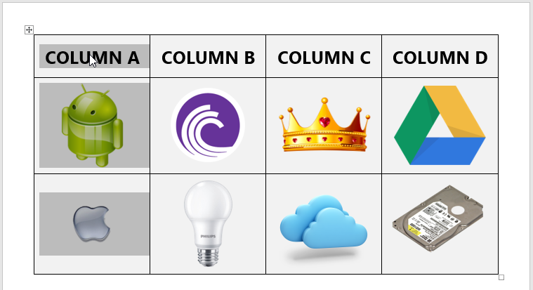 Reordering the columns in a table in Microsoft Word