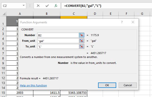 Excel CONVERT function arguments