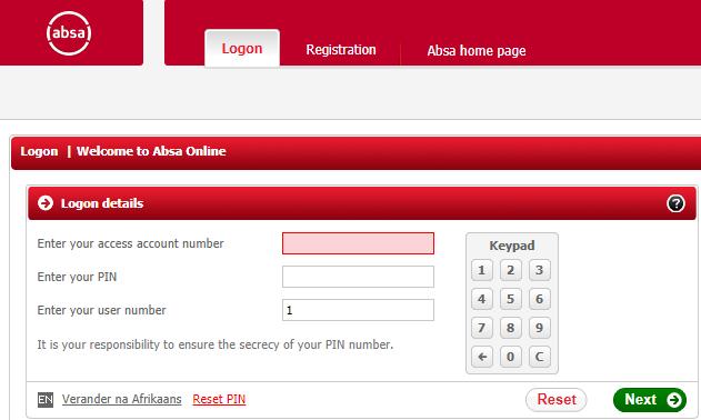 ABSA online banking on-screen keypad